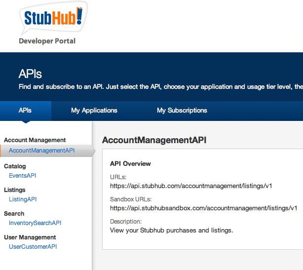 StubHub API Portal